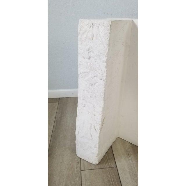 Postmodern Geometric White Plaster Pedestal For Sale - Image 9 of 12
