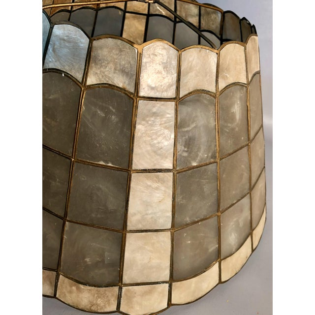 "1960s Mid Century Modern 16"" Capiz Shell & Brass Lamp Shade Scalloped Top and Base For Sale In Providence - Image 6 of 7"