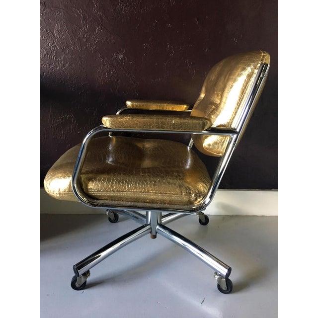 Castelli Castelli Style Metallic Mock Croc Swiveling Office Chair For Sale - Image 4 of 8