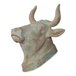French Hand-Painted Verdigris Terracotta Wall Hanging Cow Head With Collar For Sale