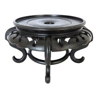"Round Dark Brown Vintage Chinese Rosewood Display Stand 9""/6"" For Sale"