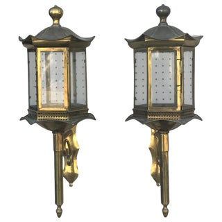 Pagoda Form Lanterns - a Pair For Sale