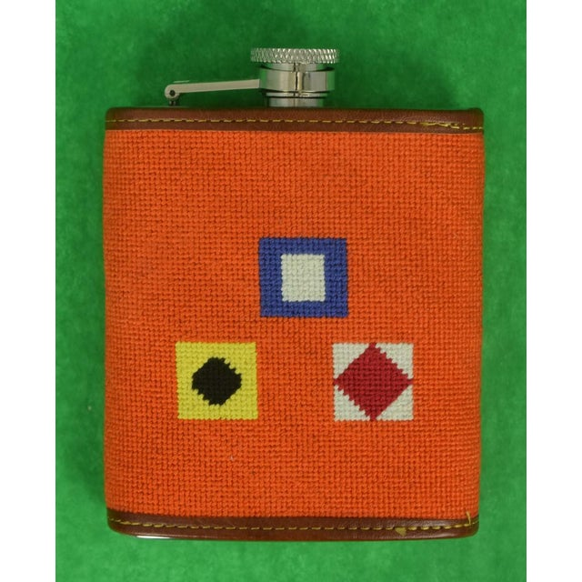 2010s Needlepoint Signal Flag 6 Oz Flask For Sale - Image 5 of 6