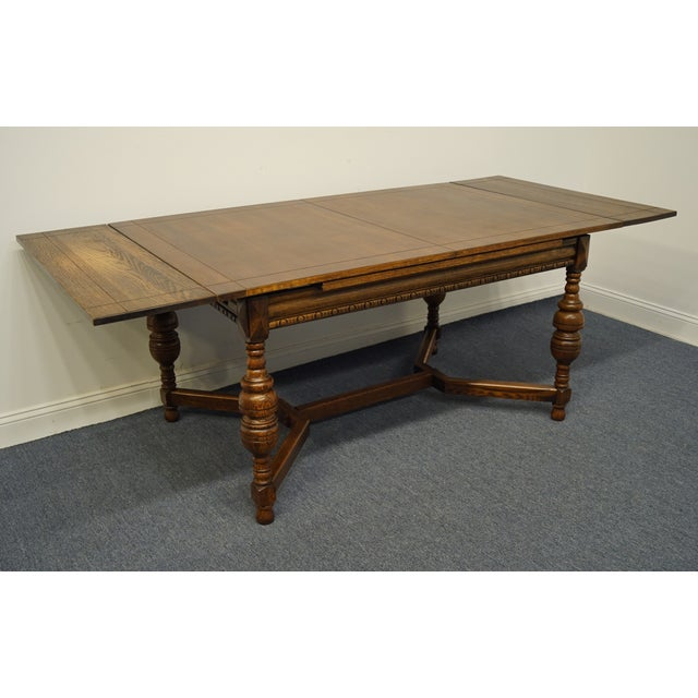 """Wood Vintage Antique Oak English Revival Gothic Jacobean 84"""" Draw Leaf Dining Table For Sale - Image 7 of 11"""