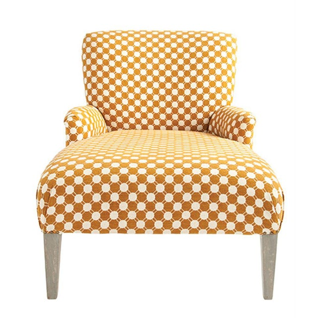 "Woven Fabric Chaise Lounge with Grey Wood Legs, White & Mustard Color fabric 58""W x 33""D x 36""H"