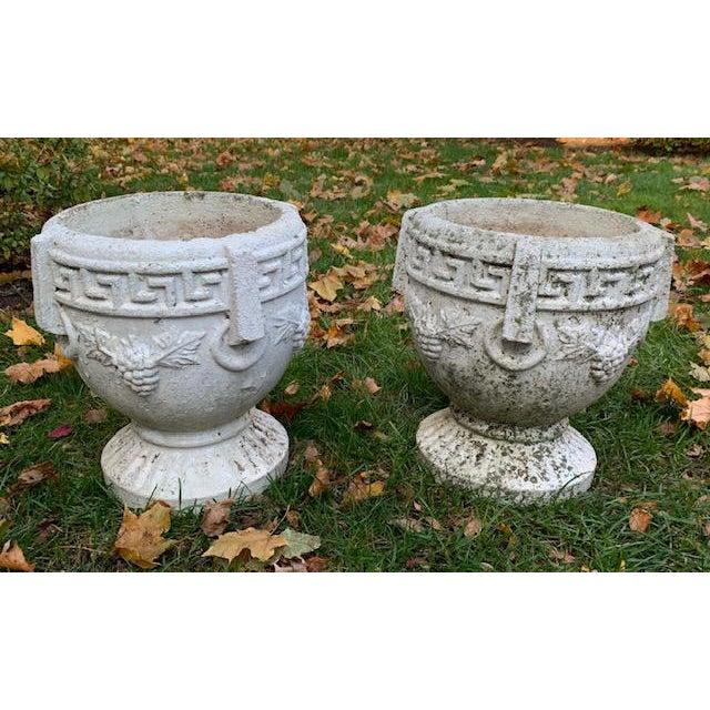Greek Key Grapes Concrete Garden Planters A Pair Chairish