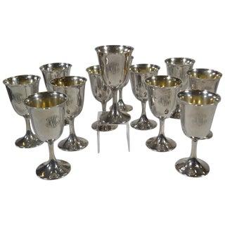Set of 12 Sterling Silver Goblets For Sale