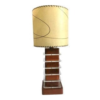 Large 1940s Art Deco Lucite Machine Age Wood Acrylic Table Lamp Signed With Original Shade For Sale