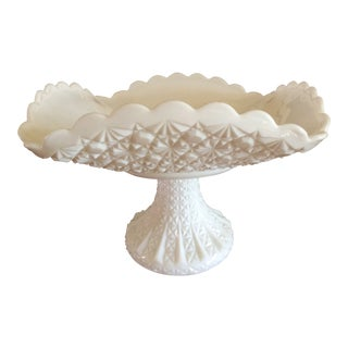 1950s Vintage Fenton Milk Glass Daisy and Button Pedestal Bowl For Sale