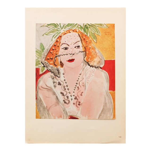 "1946 Henri Matisse, ""Woman With Violet"" Original Period Parisian Lithograph For Sale"