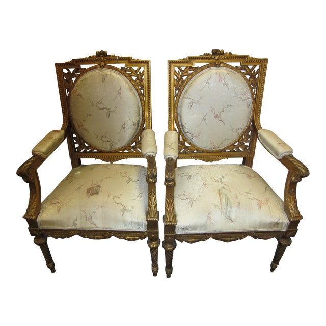 Antique French Giltwood Fauteuil Chairs - A Pair - Image 1 of 9