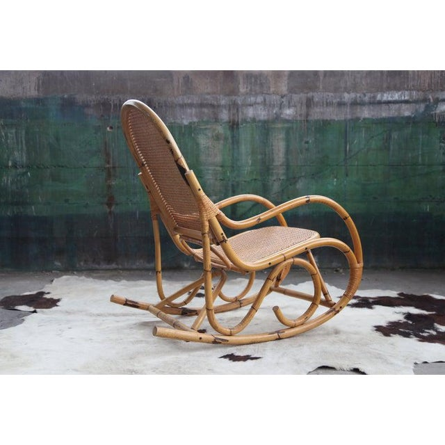 Mid-Century Hollywod Regency Boho Style Chic Rocking Chair For Sale - Image 4 of 11
