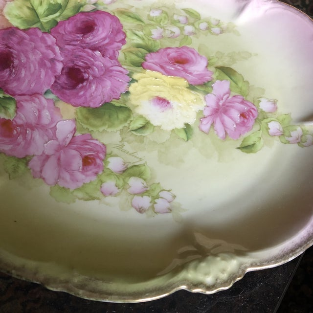 Mid 20th Century Vintage Hand Painted and Signed Vintage Bavarian Charger Plate For Sale - Image 5 of 13
