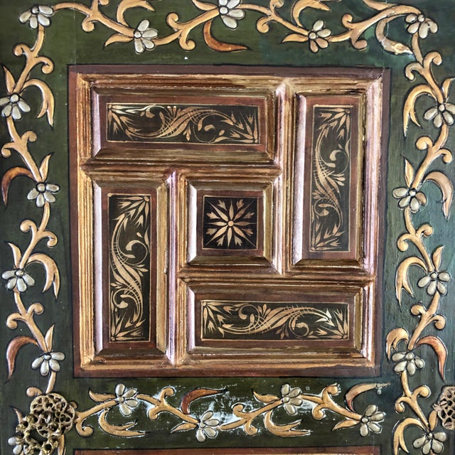 Wood 1940s Vintage Hand-Painted Ottoman Style Wood Panel / Door For Sale - Image 7 of 10