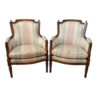 Late 19th Century French Louis XVI Bergere Chairs - a Pair For Sale