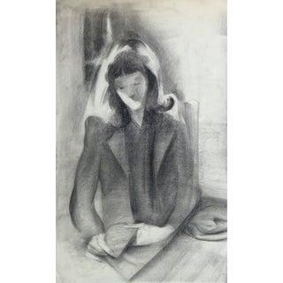 Charcoal Portrait - the Serene Reader For Sale
