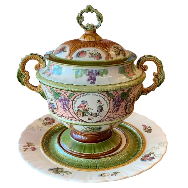 Antique Mettlach Covered Punch Bowl Wassail With Tray Circa 1890 For Sale - Image 13 of 13