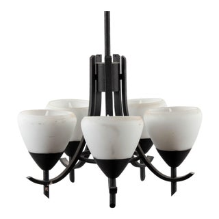 Arts & Crafts Style Gothic 5-Lamp Chandelier For Sale
