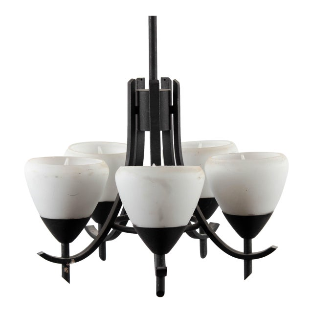 Arts & Crafts Style Gothic 5-Lamp Chandelier - Image 1 of 7