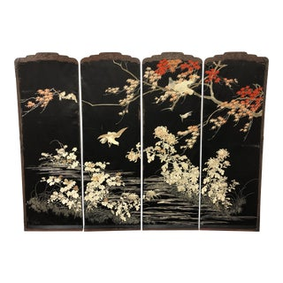 Set of Four Japanese Wedding Embroidered Panels For Sale