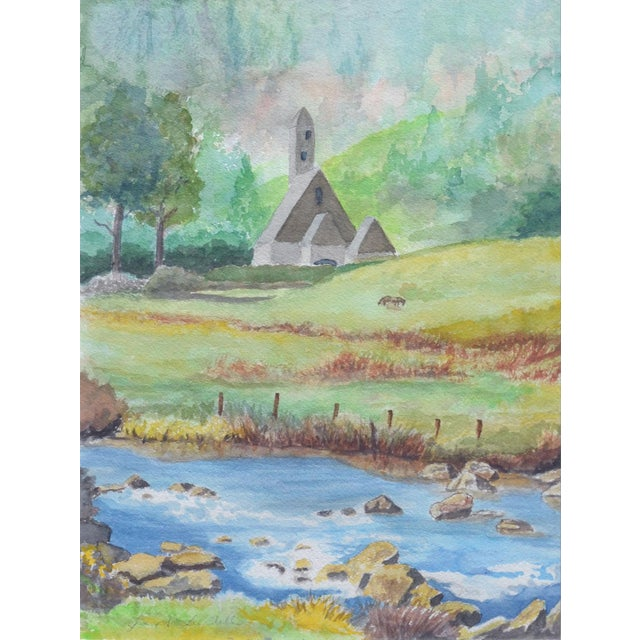 A charming and serene watercolor of a small country church by Santa Cruz, California area artist Joan Lundell (American,...