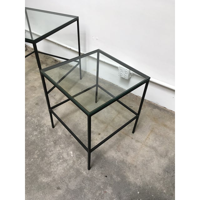 1950s Mid Century Modern Black Iron Frame & Glass Top Nesting Tables - 2 Pieces For Sale - Image 10 of 13