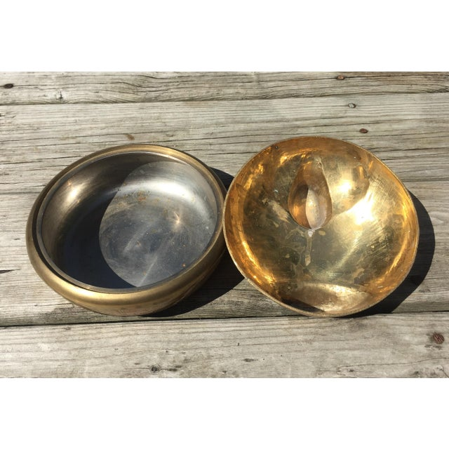 Brass Large Brass Lidded Duck Dish For Sale - Image 7 of 9