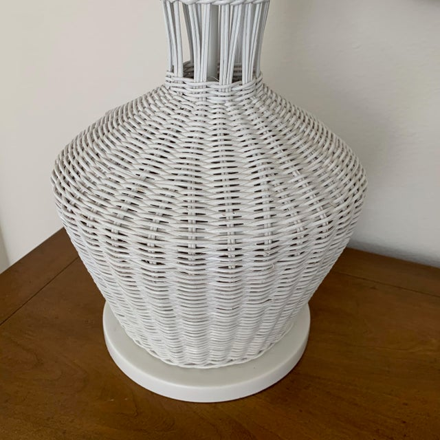 Mid 20th Century Wicker Rattan White Lamps - Pair For Sale - Image 5 of 10