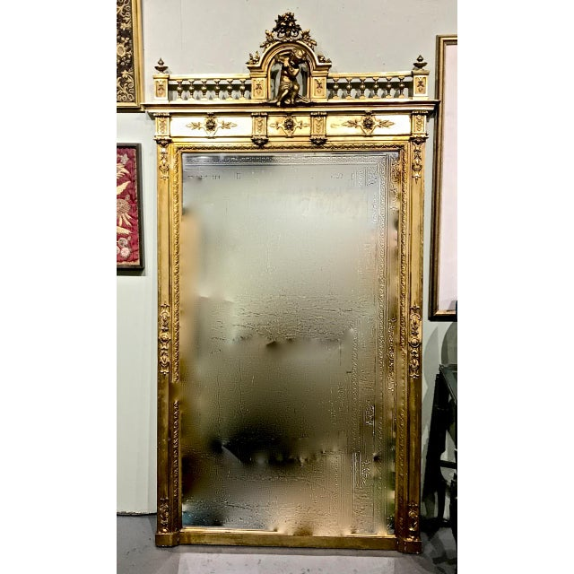 Large 19th Century Antique French Gilt Putti Mirror For Sale - Image 9 of 9