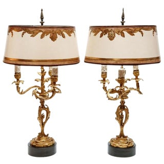 19th C. French Dore Bronze Lamps - a Pair For Sale