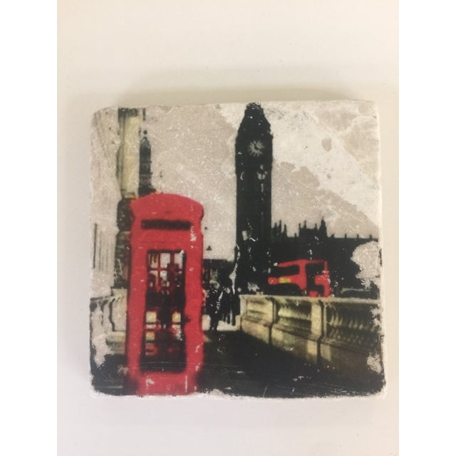 Carrara Marble World Cities Coaster, Set of 4 For Sale - Image 7 of 9
