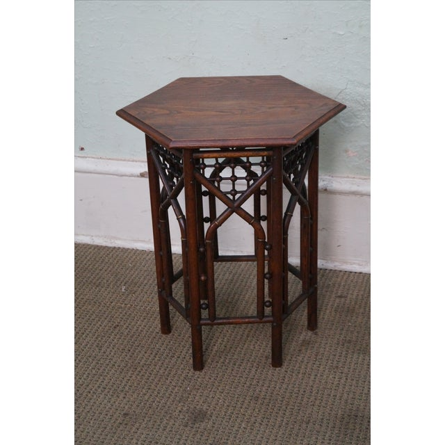 Antique Oak Stick & Ball Hexagon Taboret Plant Stand AGE/COUNTRY OF ORIGIN: Approx 100 years, America DETAILS/DESCRIPTION:...