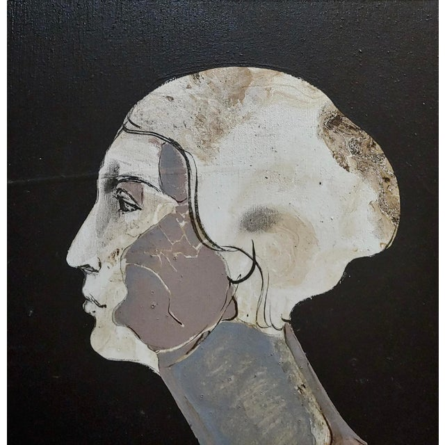 Mercado -Surreal Portrait of a Woman -Oil Painting 1968 For Sale - Image 4 of 8