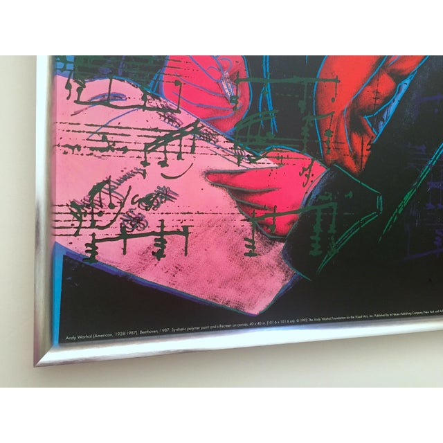 """Andy Warhol Foundation Vintage 1992 Lithograph Print Framed Pop Art Poster """" Beethoven """" 1987 For Sale In Kansas City - Image 6 of 13"""