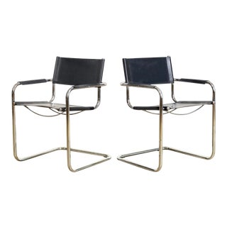 Vintage Mid Century Bauhaus Mart Stam Black Leather and Chrome Cantilever Arm Chairs - a Pair For Sale