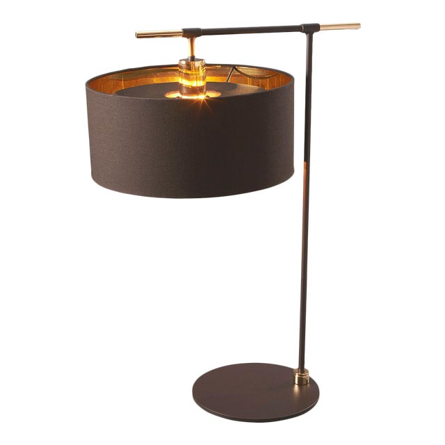 Metal Balance Brown/Polished Brass Table Lamp For Sale - Image 7 of 7