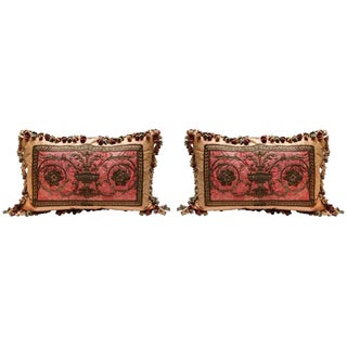 Pair 18th C. French Metal Thread Fragment Pillows For Sale