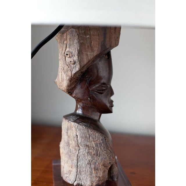 Carved Ebony Early 20th Century African Figure Lamp - Image 4 of 6