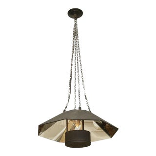 Mid Century Octagonal Mirrored Hanging Light Fixture For Sale