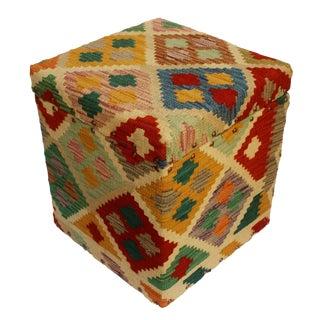 Cruz Ivory/Green Kilim Upholstered Handmade Storage Ottoman For Sale