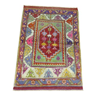 Mid 19th Century Colorful Anatolian Oushak Rug - 2′10″ × 4′1″