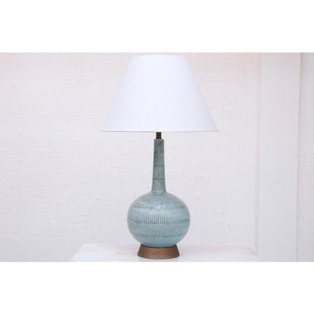 Metal Vintage Blue Ceramic Lamp For Sale - Image 7 of 7