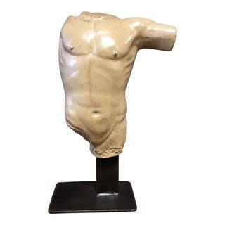 Cast Metal Nude Sculpture of Male Torso, on Custom Iron Base. For Sale