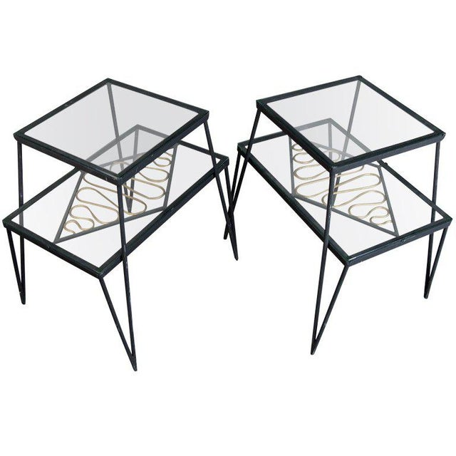 Black Vintage Pair of Iron and Gilt Ribbon Tables For Sale - Image 8 of 8