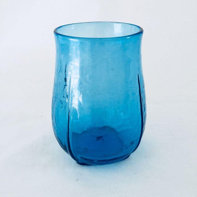 1980's Hand Blow Studio Art Glass Vase For Sale - Image 5 of 5