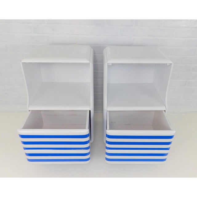Mid-Century Modern White & Blue Striped Nightstands - A Pair For Sale In Sacramento - Image 6 of 10