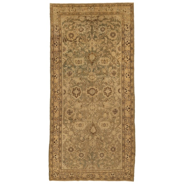 Antique Persian Malayer Rug With Beige & Brown Botanical Details on Ivory Field- 5′6″ × 11′8″ For Sale - Image 4 of 4