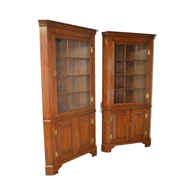 Henkel Harris Chippendale Style Pair of Solid Cherry 12 Pane Corner Cabinets For Sale - Image 13 of 13