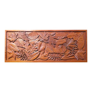 Carved Teak Wall Sculpture Signed L Himes For Sale