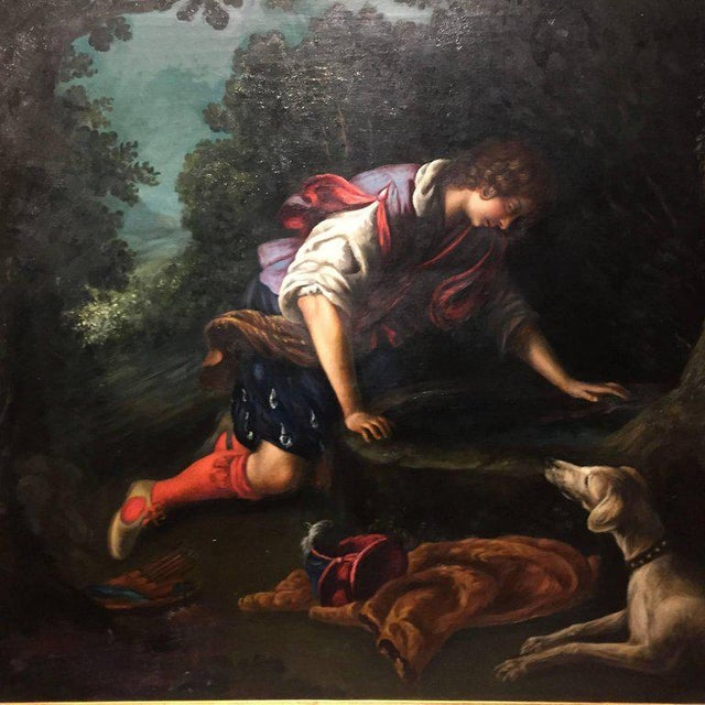 The large painting is a luminous example of late 19th century adaptation/copy of Italian painter Francesco Curradi or...